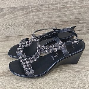Italian t strap wedge sandal shimmering shoes heel